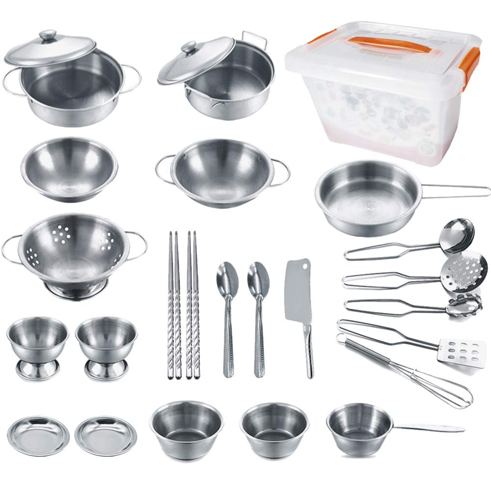ENPEI Stainless Kitchen Pretend Cookware