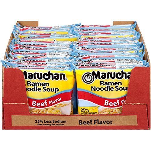 Maruchan Ramen Less Sodium Beef, 3.0 Oz, Pack of 24