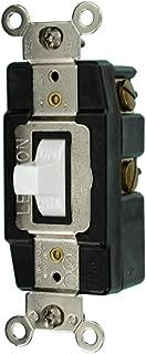 Leviton 1285-W 20-Amp 120/277-Volt Toggle Single-Pole AC Quiet Switch, White