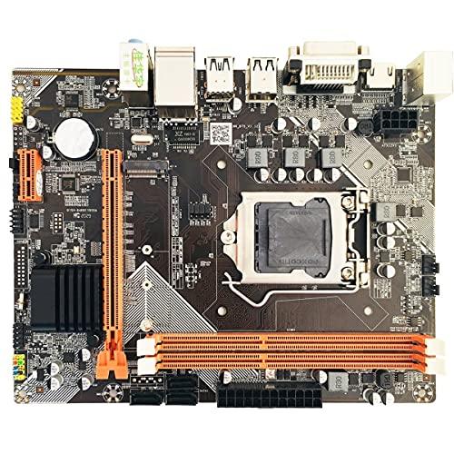 Greatangle-UK H61 para Placa Base Conjunto de gráficos Integrados para Intel Core I7 / i5 / i3 / Pentium/Celeron Desktop USB 3.0 VGA DVI HDMI Compatible Negro