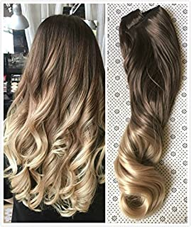20 Inches Full Head Ombre Dip Dyed Loose Curls Wavy Curly Clip-in Hair Extensions 6pcs Pack (Col. Chocolate brown to sandy blonde) DL