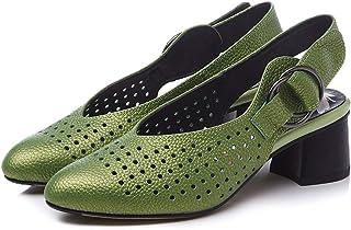 precios razonables Moda Casual para Mujer Punta Estrecha Tacón Grueso Grueso Grueso Sandalias caladas Tacones Altos Zapatos Zapatos de Fiesta para Mujer,verde,40  oferta de tienda