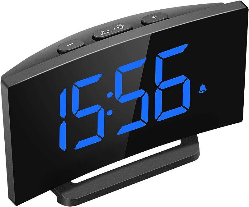 Mpow Digital Alarm Clock 5 Curved LED Screen 6 Brightness 3 Alarm Sounds Easy Digital Clock For Kid Senior Bedside Alarm Clock For Bedroom Kitchen Office Snooze 12 24H Adjustable Volume
