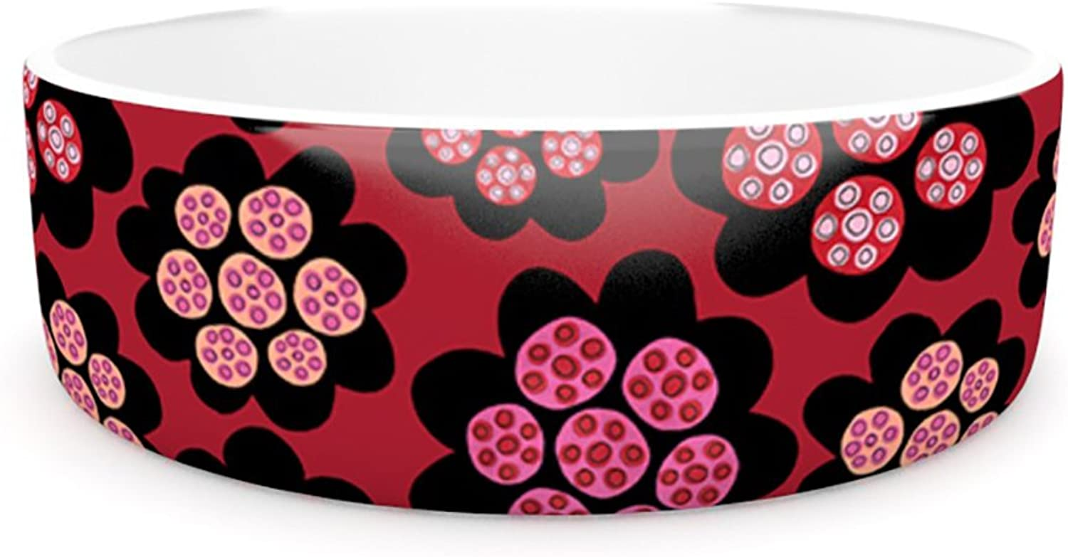 Kess InHouse Jane Smith Garden Pods Repeat  Pet Bowl, 7Inch, Pink Floral