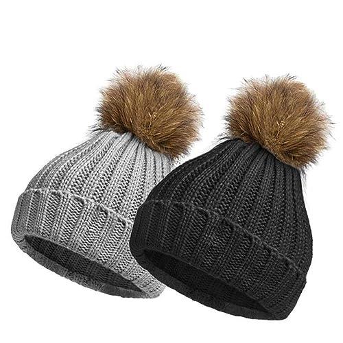 03076b4b EINSKEY Bobble Hats for Women, 2 Pack Ladies Winter Knitted Beanie Hat Pom  Pom Hat