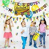 iZoeL Schulanfang Einschulung Schuleinführung Schule Deko Alles Gute Zum Schulanfang Girlande + Schultüte Banner + Folienballon + 123 ABC Konfetti für Junge Mädchen - 4