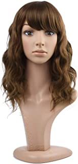 MelodySusie Mid Length Curly Wavy Wig for Women, 17 inches Hair Replacements Wig with Bang, Synthetic Fiber, Natural as Human Hair, for Daily Halloween Cosplay Costume, Wig Cap Included, Light Brown