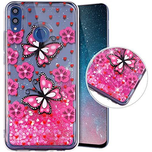 Funda Compatible con Huawei Honor 8X.Funda Carcasa Transparente Brillo Móvil Glitter Brillantes Purpurina Liquida Arenas TPU Silicona Suave Dibujos Diseño Protectora Completo Cubierta,Mariposa Rosa