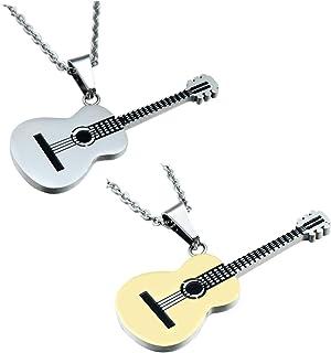 Shuny 2Pcs Collar de Guitarra,Colgante de Collar,Cadena de Acero de Titanio Collar