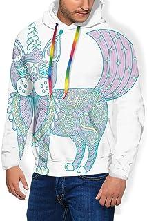 GULTMEE Men's Hoodies Sweatershirt, Magic Cat with Ornate Patterns Boho Motifs,5 Size