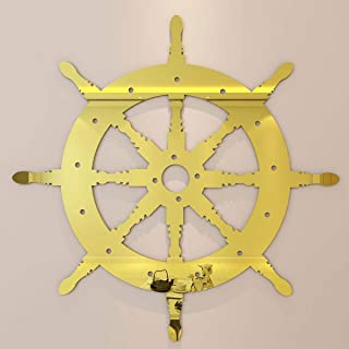 CrazyDeal Ship Wheel Wall Decor, Nautical Boat Steering Rustic 3D DIY Mural Sculptures for Farmhouse Living Room Bedroom Gift Set Gold 16inch Large