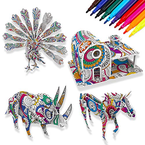 4 Pack 3D Coloring Puzzle Set for Kids Painting Art and Crafts with 10 Pen Markers, Educational DIY Puzzle Toy for Kids, Creative Birthday for Children Boys Girls