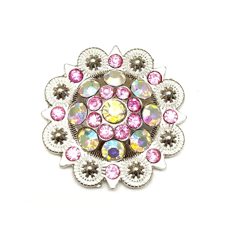 Berry Conchos with Screws Metal Flower Rhinestone Conchos 12 Pieces (Color2)
