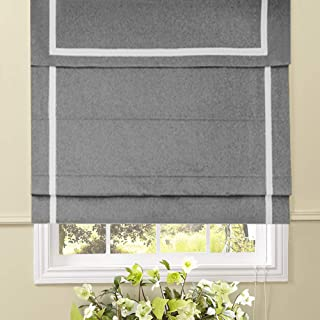 Artdix Roman Shades Blinds Window Shades - Light Grey 20 W x 36L Inches (1 Piece) Blackout Solid Fabric Custom Made Roman Shades for Windows, Doors, Home, Kitchen, Living Room Including Valance