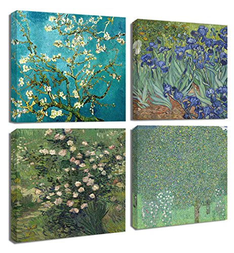 Floral Canvas Print 4Pcs/Sets Modern Wall Art Bedroom Home Decor Giclee Framed Artwork Almond