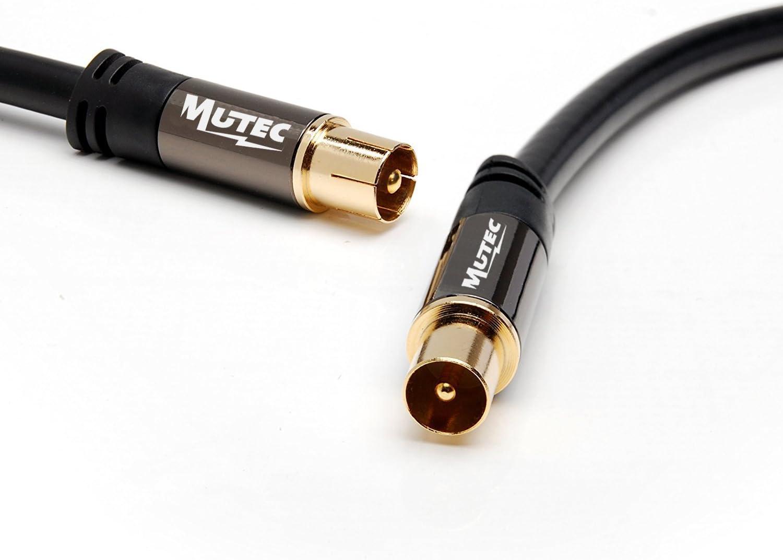 MutecPower 2m de Cable para TV/AV Antena coaxial Macho a Macho - HDTV/Full HD con Oro Conectores y Tapas de Metal Plateado - 2 Metros Negro