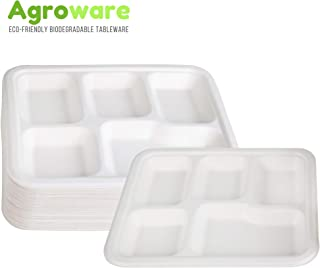 AgroWare Meal Tray 5 Compartment Heavy Duty Disposable Tree-Free Plates 100% Natural Eco-Friendly Sugarcane Biodegradable Compostable Bagasse Plates, 100% Gluten Free, Pack of (50)