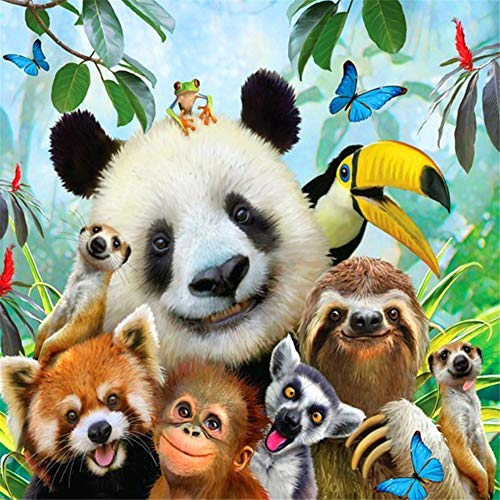 DIY 5D Diamond Art Kit for Adults Kids, Y1 Panda Animal Park Pictures Rhinestone Cross Stitch Pasted Painting Arts Craft for Home Office Wall DecorationSquare Drill,80x110cm