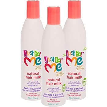 Amazon Com Just For Me Natural Hair Milk Hydrate Protect Leave In Conditioner Maintains Moisture Balance With Coconut Milk Shea Butter Vitamin E Sunflower Oil 10 Ounce 3 Pack Beauty
