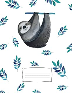 """Happy Sloth Composition Notebook: 7.44""""x 9.69"""" matte college ruled composition exercise book/journal/diary/office noteboo..."""