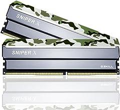 G.Skill (2x8GB) SniperX Gaming Serisi 3200 MHz CL16 (16-18-18-38) Klasik Kamuflaj Desenli Alüminyum Soğutuculu 1,35V Dual Bellek Kiti