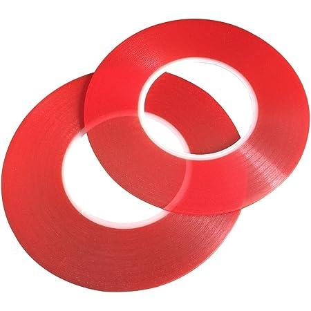 幅2mm×50m 両面テープ セロテープ 超強力 透明 防水 汎用性に優れ 家用 事務用 車用 電気製品 修理用 LED スマホ 液晶パネル用 凹凸面用 接着 粘着(25m 2セット)