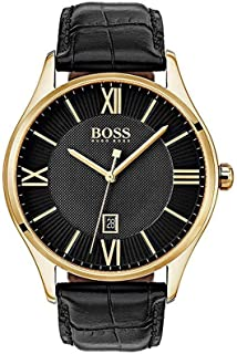 Hugo Boss Men's Black Dial Leather Band Watch - 1513554
