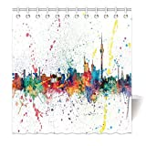 YISUMEI Hem Gewichte Vorhang Duschvorhang Mode Duschvorhänge 120x180 cm Berlin Skyline Skyline in Wasserfarben