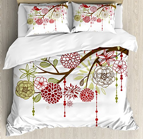 Ambesonne Christmas Duvet Cover Set, Floral Winter Red Bird Hat and Scarf on Blooming Tree Nature Inspired, Decorative 3 Piece Bedding Set with 2 Pillow Shams, King Size, Burgundy Green