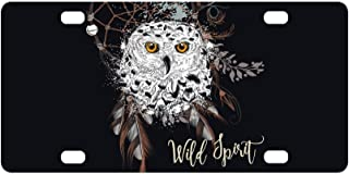InterestPrint Boho Bohemian Dreamcatcher and Owl, Dream Catcher Wild Spirit Automotive Metal License Plates Decor Decoration, Car Tag for Woman Man - 12 x 6 Inch