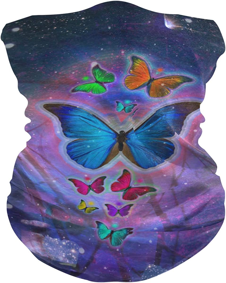 Butterfly Abstract Colorful DesignFace Mask Sun UV Protection Bandana Mask Rave Neck Gaiter Balaclava Headwrap Face Cover Scarf