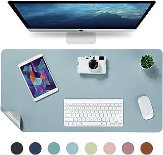 Knodel Alfombrilla de escritorio, Estera del escritorio de oficina, Vade para escritorio hecho de cuero PU, alfombrilla del escritorio del ordenador portátil, Doble cara (Azul claro / Plata)