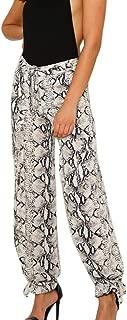 GoodLock Hot!! Women's Fashion Loose Long Pants Ladies Casual Sexy Snake Skin Print Ribbons Trousers