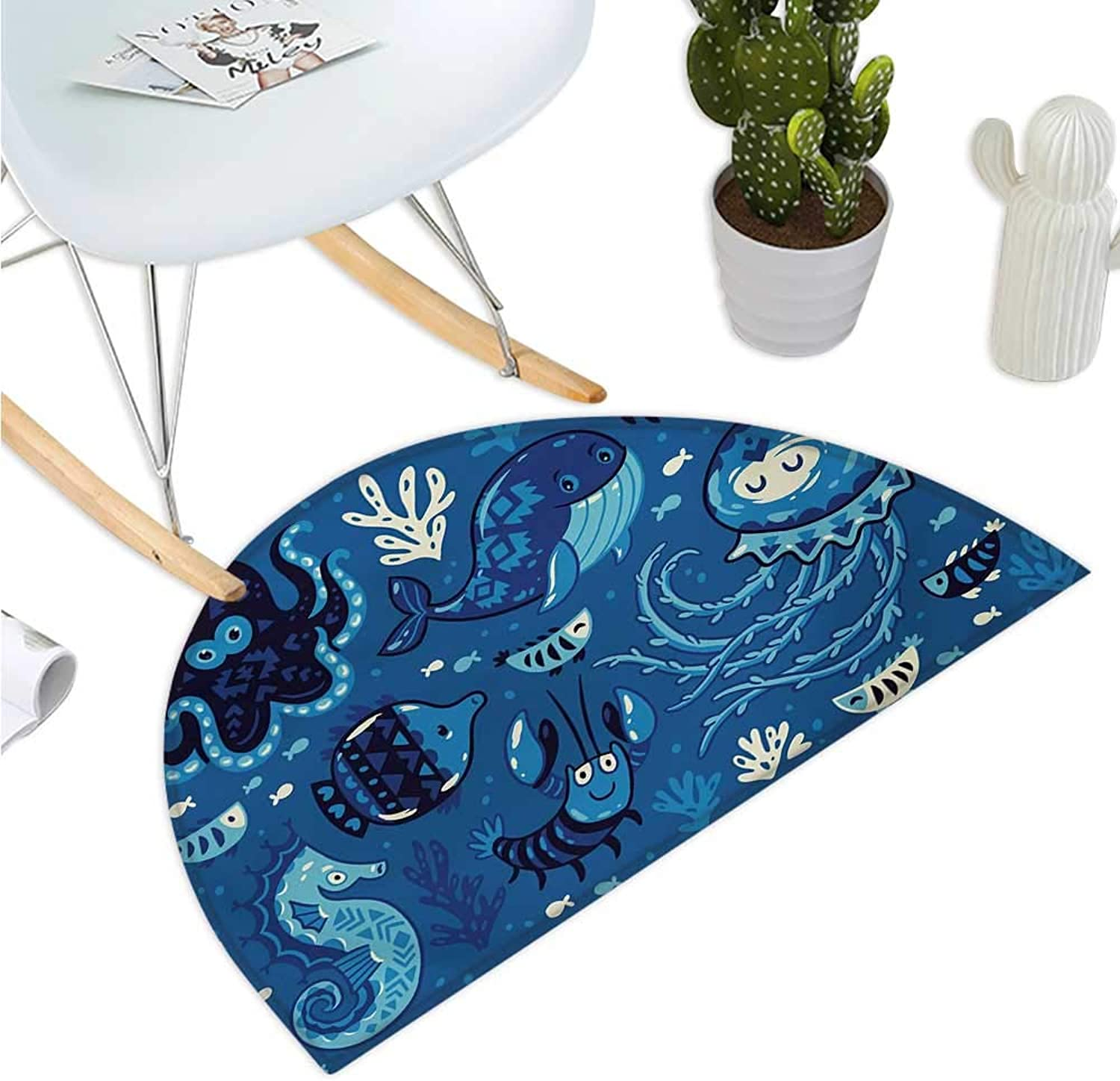 Ocean Semicircle Doormat Deep Sealife with Cute Sweet Cartoon Style Animals Little Whale Fish Octopus and Moss Print Halfmoon doormats H 39.3  xD 59  bluee