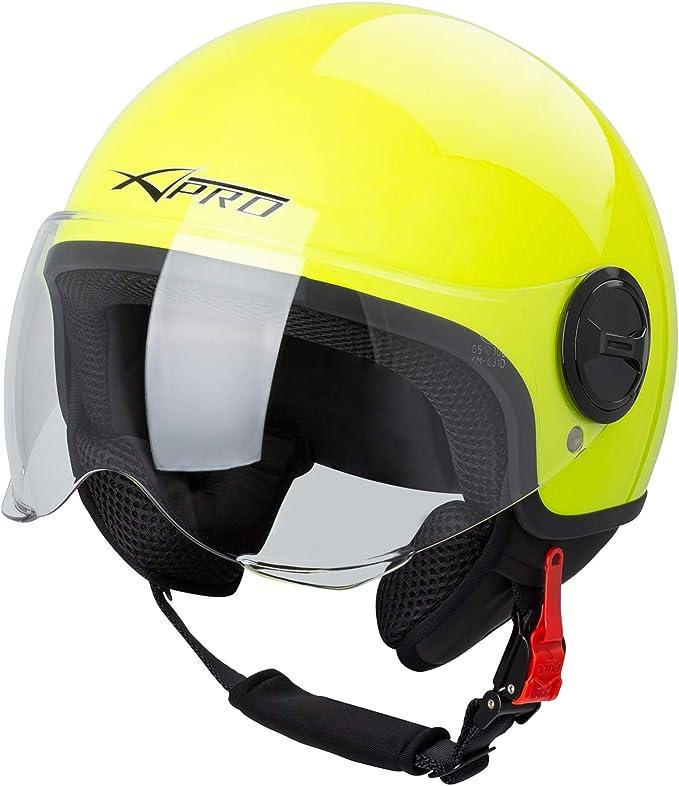 Motorradhelm Motorrad Roller Jet Helm Demi Avio Viser Homologiert Sonicmoto Fluo M Auto