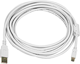 Monoprice 15-Feet USB 2.0 A Male to Mini-B 5pin Male 28/24AWG Cable with Ferrite Core (Gold Plated), White (108636)