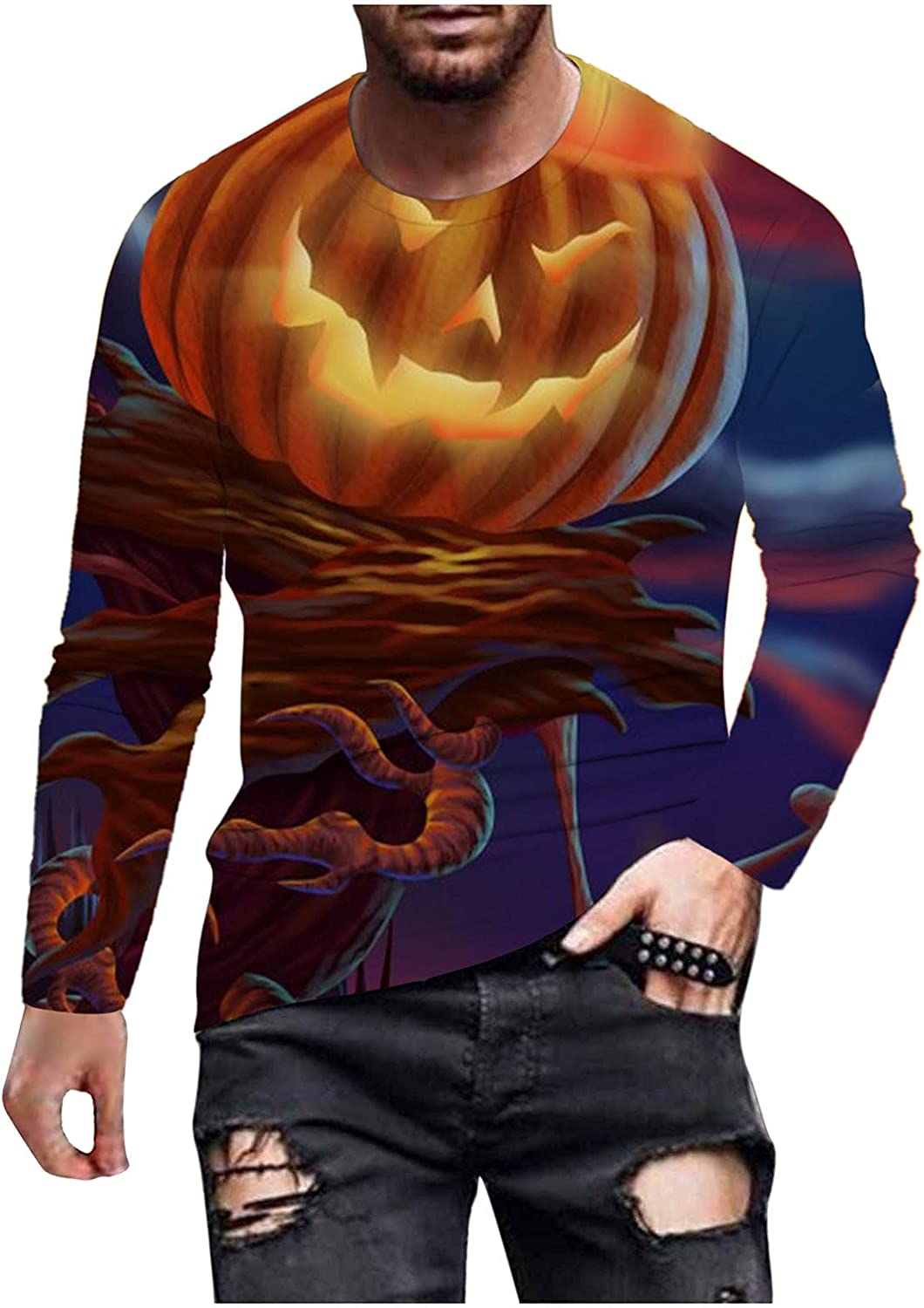 xoxing Halloween Shirts for Men Casual Autumn 3D Digital Printed Tops Crew Neck Long Sleeve Loose Sweatershirts Pullover