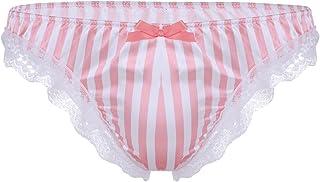 CHICTRY Men's Stripe Metallic Satin Frilly Silky Sissy Thong Brief Feminine Underwear
