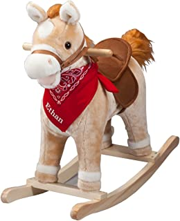 Fox Valley Traders Personalized Animated Rocking Horse with Sounds, Customized Ride-On Pony with Wooden Base