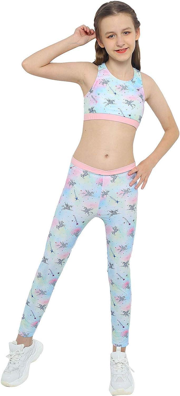 winying Child Girls Cartoon Horse Print Tracksuit Tank Crop Top + Yoga Pants Sport Workout Leggings Active Set