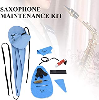 Volwco 10 in 1 Saxophone Cleaning Kit,Professional Flute Cleaning Care Kit for Wind Instruments with Cleaning Cloth/Mouthpiece Brush/Mouthpiece Brush/Screwdriver/Cork Grease/Thumb Rest/Reed Case