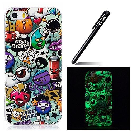 Case für iPhone SE,Silikon Schutzhülle für iPhone 5S,BtDuck dünn Nacht-Leuchtende TPU Tasche für iPhone SE/5S/5 Hülle Etui Case Durchsichtig Schutzhülle Bumper Cover Tasche für iPhone 5S -