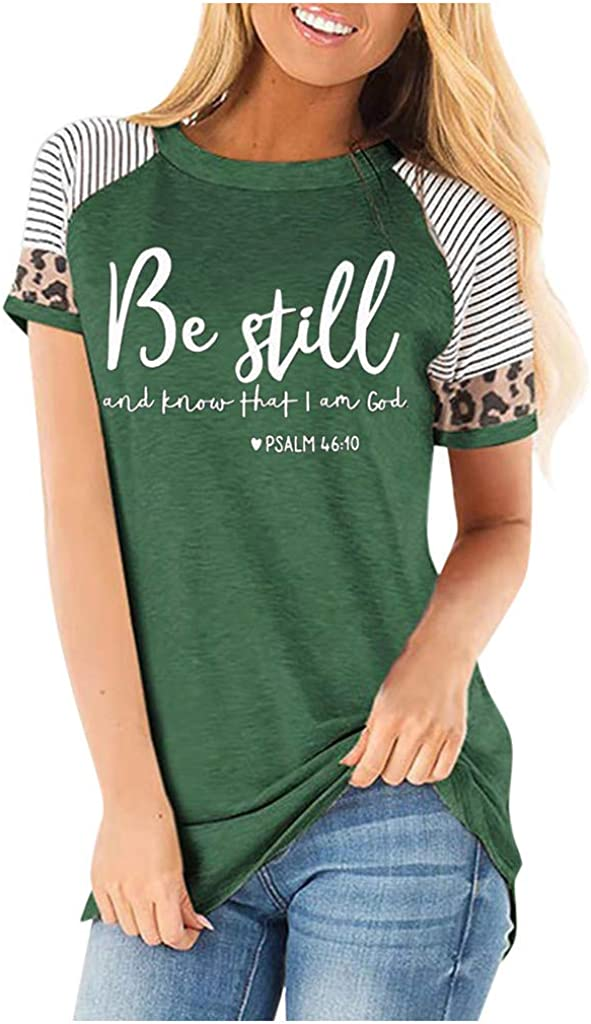 Cute Summer Tops for Women Under 10 Dollars Women's Casual Short Sleeve Round Neck Triple Color Block Stripe T-Shirt Blouse Tops