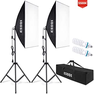 ESDDI Softbox Photography Lighting Kit 800W Continuous Photo Studio Equipment with 2x50 x 70cm Reflectors and 2 x E27 Socket 5500K Bulbs for Portraits Fashion and Product Shooting