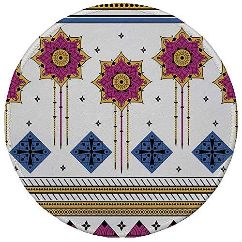 Gummi-Gaming-Mauspad,rutschfestes rundes Mousepad,Stammes-nahtloses Muster mit farbigem Vektor und dekorativem Motivdruck mit ethnischen Maya-Motiven,blau-blasser Kaffee-Fuchsia,20CM