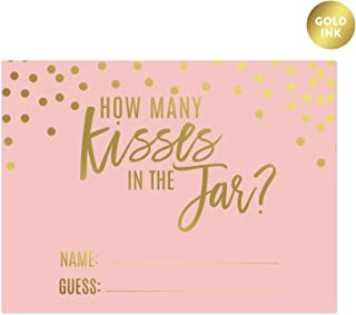 Andaz Press Blush Pink and Metallic Gold Confetti Polka Dots Bachelorette Party Bridal Shower Collection, How Many Kisses are in the Jar Game Cards, 30-Pack