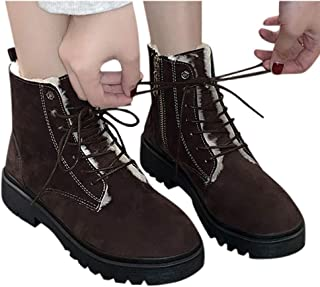 Women Suede Combat Boots, Fur Lined Lace Up Riding Boots Winter Non-Slip Snow Boots Ankle Booties