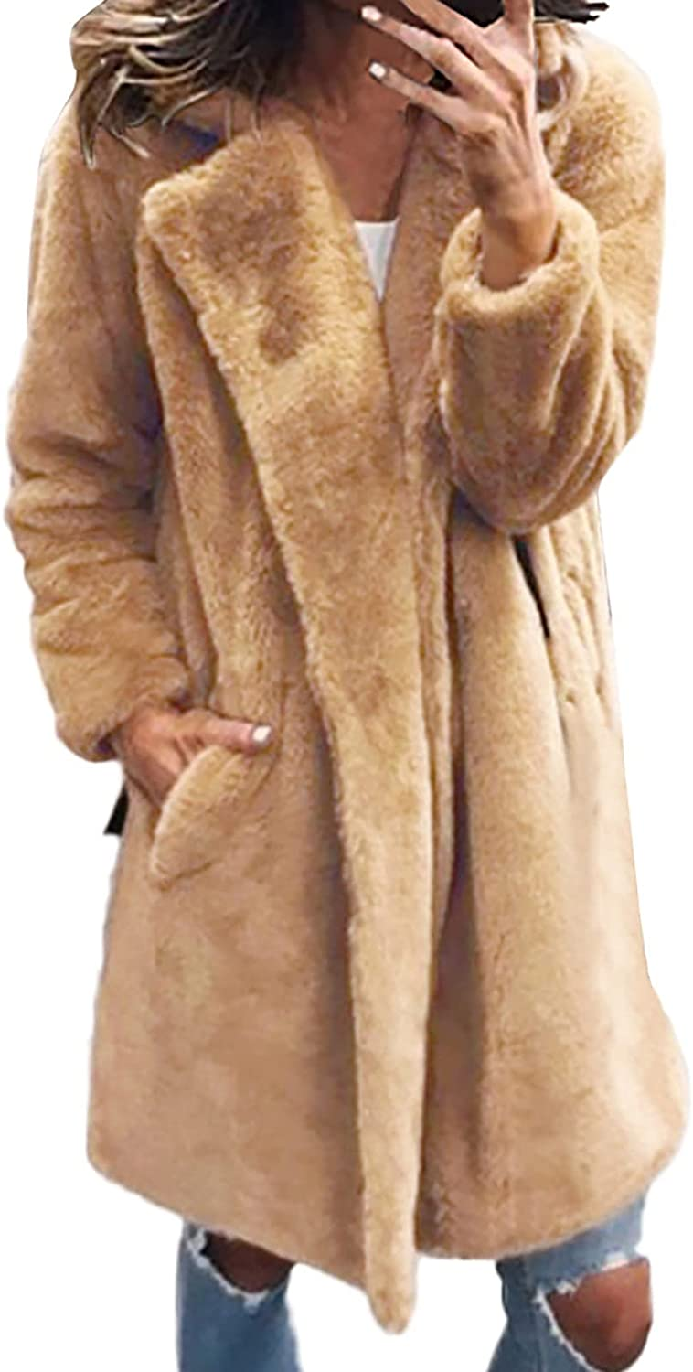GOODTRADE8 Womens Ladies Solid Warm Faux Coat Jacket Winter Turn Down Collar Outerwear Junior g1149