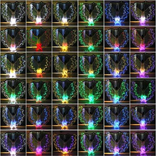 Kleur LED-licht Wings Wings dansen verlichte Props Performance buikdansvleugel 12 sterren