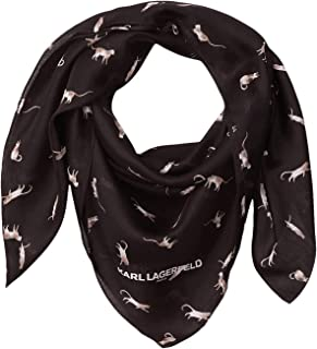 Karl Lagefeld Paris Women's Karl Lagerfeld Paris Cat Party Silk and Cotton Scarf, BLACK, 1 SZ